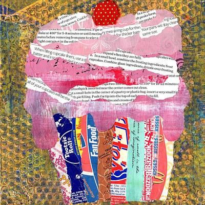 Mcdonalds Mixed Media - Pink Cupcake by Sandy Karsten