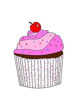 Cute Cupcakes Digital Art - Pink Cupcake With Sprinkles by Kathleen Sartoris