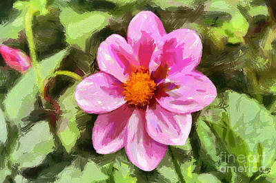 Painting - Pink Dahlia by Sergey Lukashin