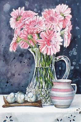 Pink Daisies In Crystal Pitcher Art Print