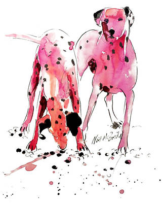 Wag Painting - Pink Dalmations by Neil McBride