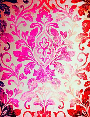 Painting - Pink Damask Pattern by Aloke Creative Store