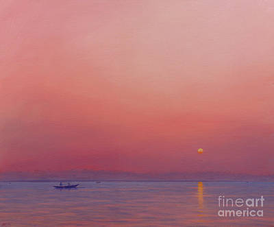 Water Vessels Painting - Pink Dawn On The Ganges by Derek Hare