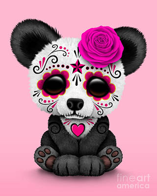 Panda Cub Wall Art - Digital Art - Pink Day Of The Dead Sugar Skull Panda by Jeff Bartels