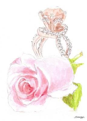 Rosebud Drawing - Pink Diamonds by Jayne Somogy