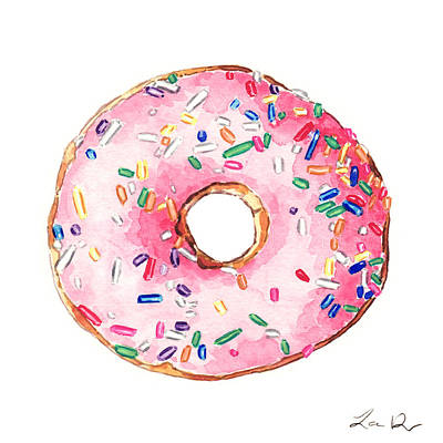 Donut Painting - Pink Donut With Sprinkles by Laura Row