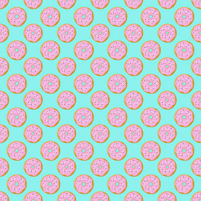 Donuts Painting - Pink Donuts by Little Bunny Sunshine