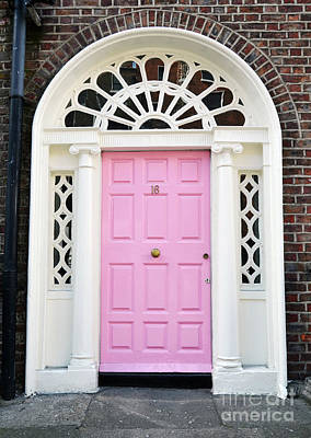Photograph - Pink Doors Of Dublin Ireland Classic Georgian Style With Columns And Ornate Transom by Shawn O'Brien