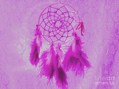 Watermark Mixed Media - Pink Dreamcatcher by Owl's View Studio