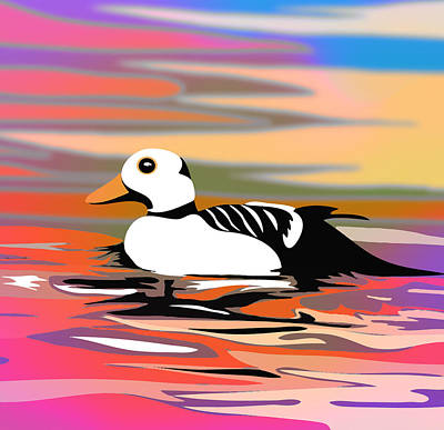 Puffin Digital Art - Pink Duck Summer Colors Painting by Jean-Pierre Prieur