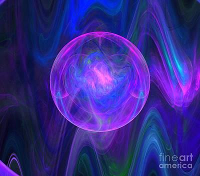 Digital Art - Pink Eclipse Wave by Kim Sy Ok