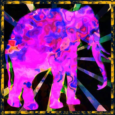 Elephants Digital Art - Pink Elephant Abstract by David G Paul