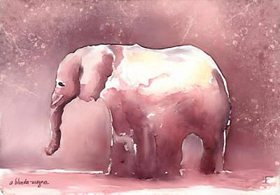 Elephants Digital Art - Pink Elephant by Arline Wagner