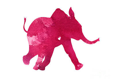 Pink Elephant Silhouette Watercolor Art Print Art Print