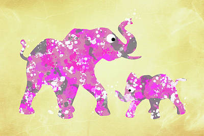 Abstract Wildlife Mixed Media - Pink Elephants by Christina Rollo
