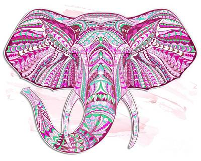 Painting - Pink Ethnic Elephant by Aloke Creative Store