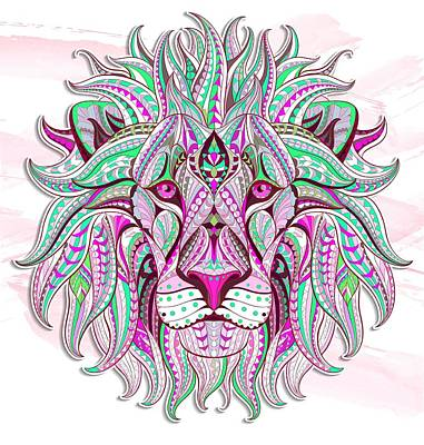 Painting - Pink Ethnic Lion by Aloke Creative Store