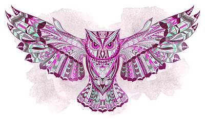 Painting - Pink Ethnic Owl by Aloke Creative Store