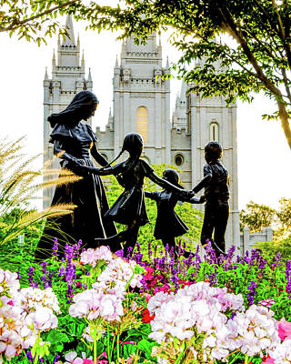 Salt Lake Temple Wall Art - Photograph - Pink Family Slc Temple by La Rae  Roberts