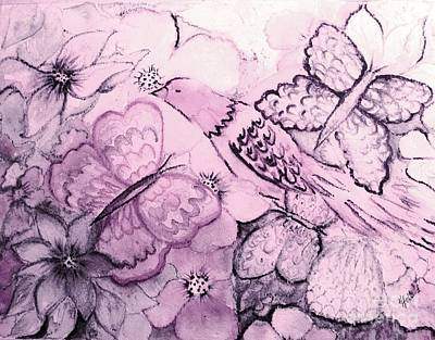 Painting - Pink Fantasy Garden by Hazel Holland