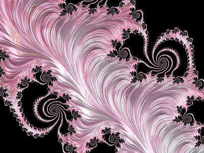 Silk Wall-hanging Digital Art - Pink Feather On Black Abstract by Georgiana Romanovna