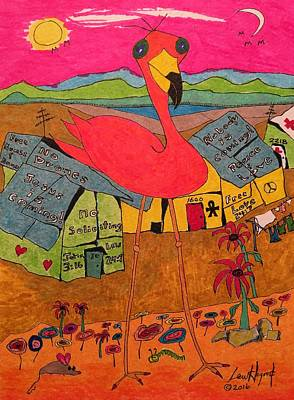 Painting - Pink Flamingo Camp by Lew Hagood