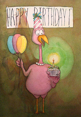 Pink Flamingo Happy Birthday Watercolor Cupcake  Art Print by Kerra Lindsey