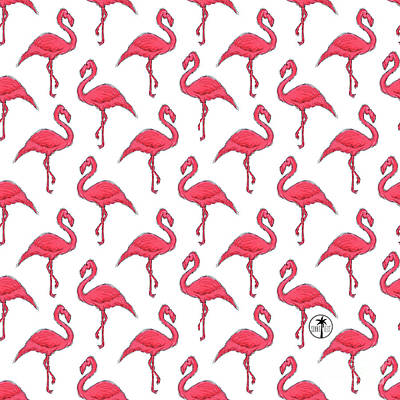 Flamingo Painting - Pink Flamingo Pattern Design Fun Tropical Coastal Art From Sunnie Tees by Megan Duncanson