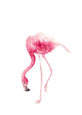 Pink Flamingo Watercolor Art Print Painting Print by Joanna Szmerdt