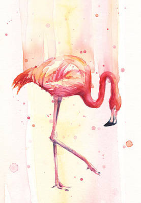 Pink Flamingo Watercolor Rain Print by Olga Shvartsur