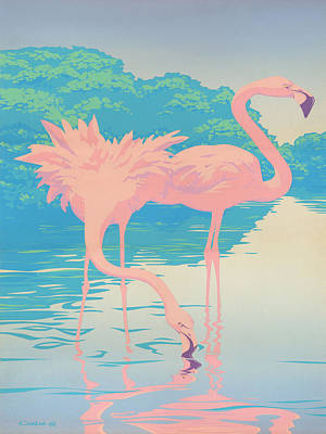 Abstact Landscapes Painting - Pink Flamingos Abstract Retro Pop Art Nouveau Tropical Bird Art 80s 1980s Florida Decor by Walt Curlee