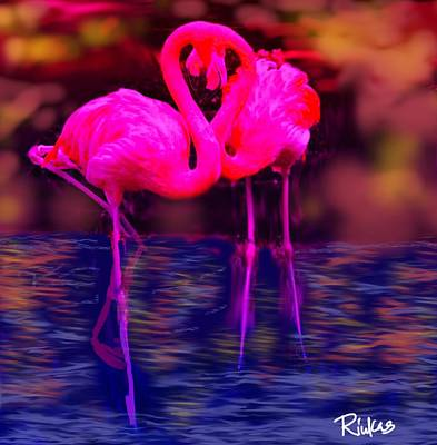 Digital Art - Pink Flamingos  by Diana Riukas