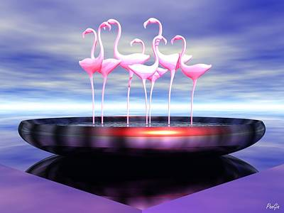 Digital Art - Pink Flamingos by John Pangia