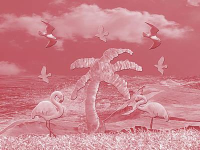 Pink Flamingo's Palms Art Print