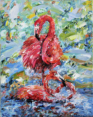 Painting - Pink Flamingos  by Yelena Rubin