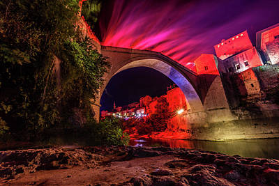 Photograph - Pink Flares Light Up Stari Most Bridge by Clifford Toy