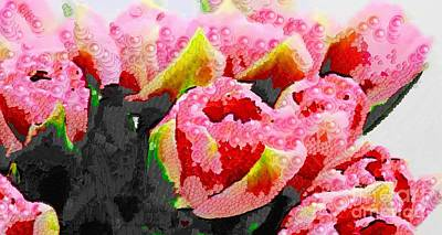 Painting - Pink Floral Living In The Mix by Catherine Lott