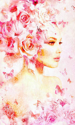 Digital Art - Pink Floral Nymph In Watercolor by Lilia D