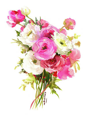 Painting - Pink Florwers, Floral Design by Suren Nersisyan
