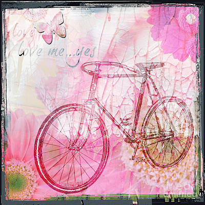 Artyzen Studios Mixed Media - Pink Flower Bicycle by WALL ART and HOME DECOR