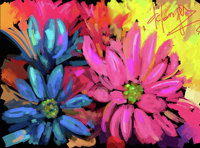 Art Print featuring the painting Pink Flower by DC Langer