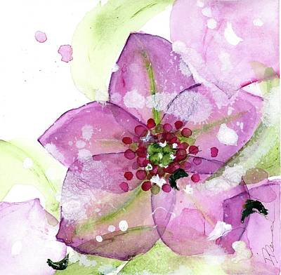 Painting - Pink Flower In The Snow by Dawn Derman