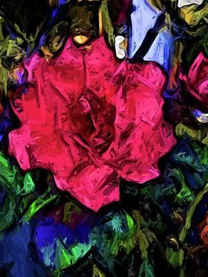 Digital Art - Pink Flower With Black Lines by Jackie VanO