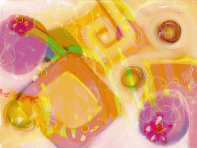 Painting - Pink Flowers And Orange Abstract by Susan Stone