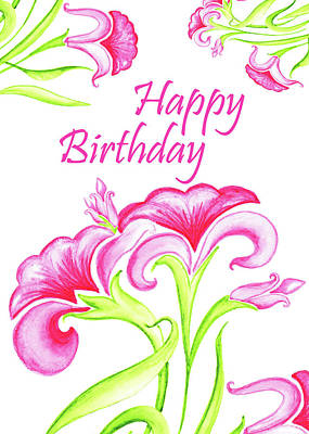 Lilies Royalty-Free and Rights-Managed Images - Pink Flowers Birthday Card by Irina Sztukowski