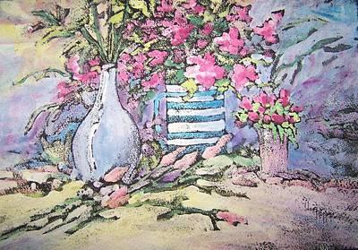 Flower Still Life Mixed Media - Pink Flowers by Dani Tupper