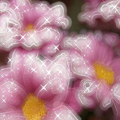 Pink Flowers Glowing Art Print