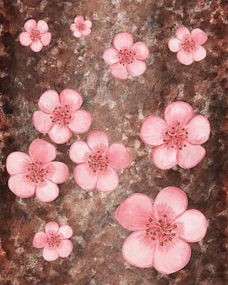 Painting - Pink Flowers Happy Garden I by Irina Sztukowski