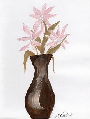 Pink Flowers In Brown Vase Art Print by Marsha Heiken