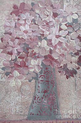 Mixed Media - Pink Flowers In Grey Vase by Janyce Boynton